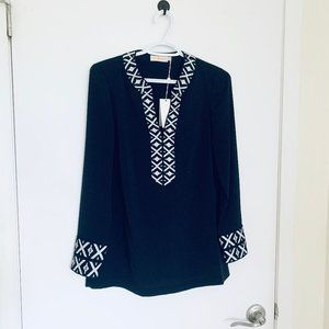 NWT Tory Burch Navy Embroid Tunic Top, Size 0